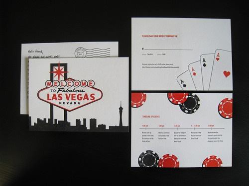 An Wedding Invitation That Was Bold, Simple, And Spoke Directly Of Las Vegas