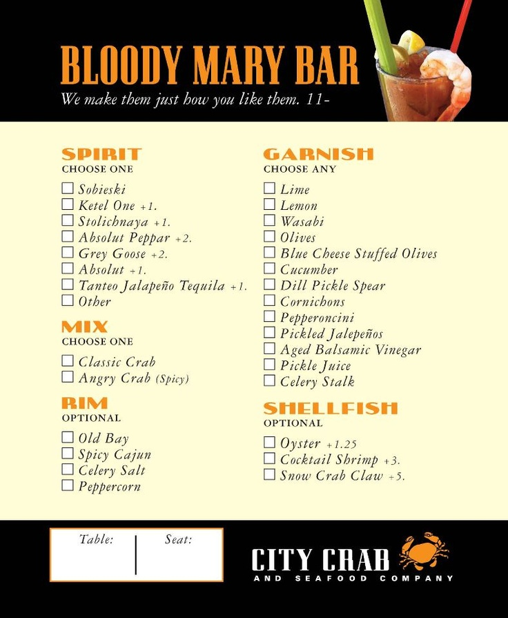 We now offer a Design Your Own Bloody Mary Bar during weekend brunch!
