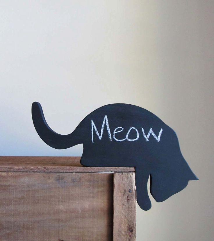 Black Cat Wood Cutout Chalkboard