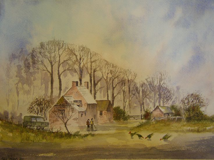 On The Farm 12 x 16 water colour by           C Walters