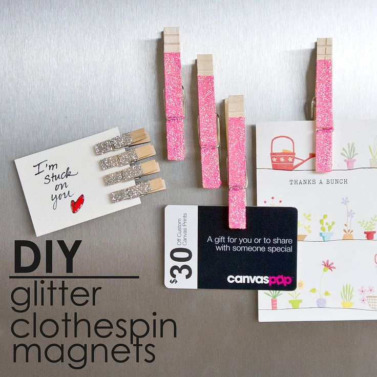 Glitter DIY   ~ Mary Wald's Place -  Glam Up Memos With Glittered Clothespin Magnets