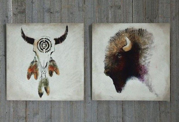 Western Wall Decor, Set of 2 Canvases - Use western wall decor to transport your home back in time! The images of the buffalo and steer skull are beautifully reminiscent of the old west and wilder days gone by.