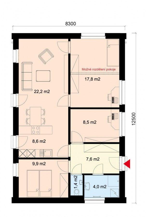 Projekt dřevostavby bungalovu 5+kk, také pasivní dům, RD 910 | Typové projekty dřevostaveb | Projekty domů cz