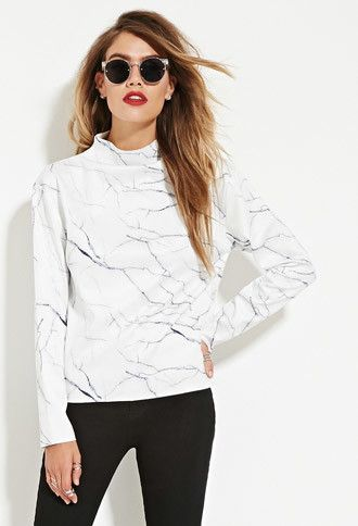 Eric + Lani Marble Print Top | Forever 21 - 2000163408