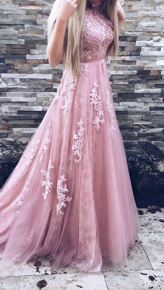 A-Line Crew Court Train Backless Pink Tulle Prom Dress with Appliques M1139