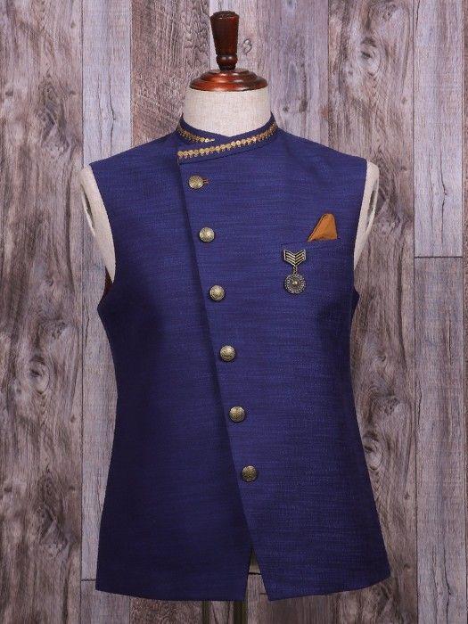 Plain Navy Silk Waistcoat, mens style, mens fashion