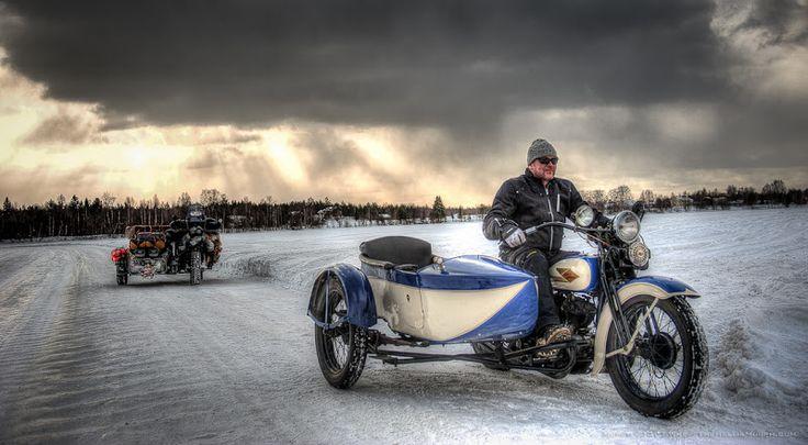 1934 Harley Davidson sidecar on the Kemi River Ice Road, Rovaniemi, Finland.