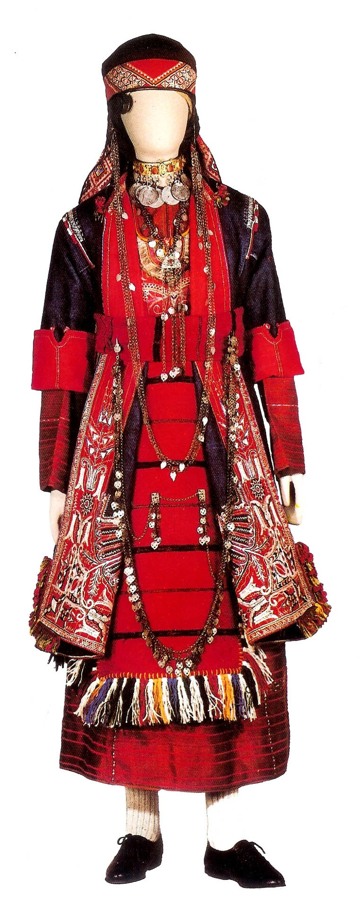 Bridal costume worn in the five largest villiages of Thesaloniki. 19th c