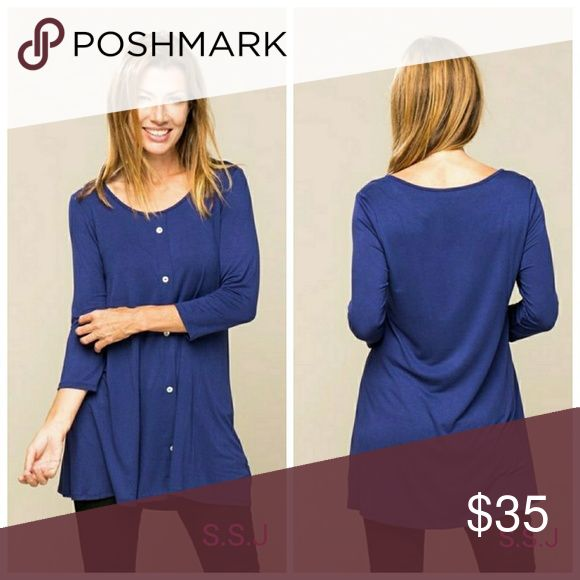 Nee Arrival!! This is such a gorgeous blue tunic. Goes amazing with jeans or a pair of leggings! Perfect for this season☺ Roud neck 3/4 button sleeve tunic  95%rayon 5%spandex boutique Tops Tunics