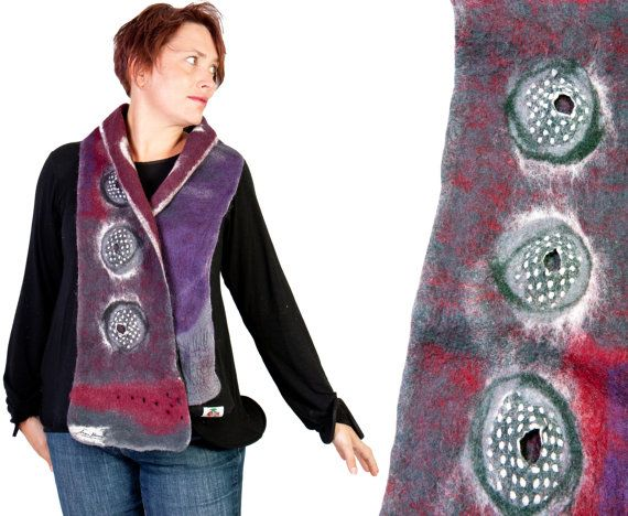 Nuno felted merino wool scarf, autumn winter accessories, arty felt neckwarmer,  Christmas gift