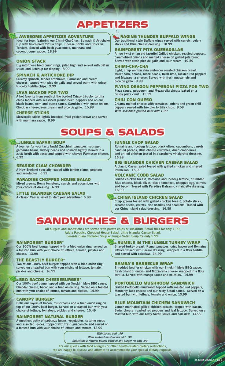 Nutrition Menu For Rainforest Cafe
