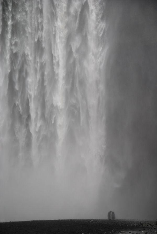 Waterfall, Iceland: Waterfalls, White, Grey Waterfall