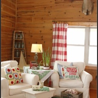Hometalk :: White slipcovers in the living room of a log home. Farmhouse decor, wi…