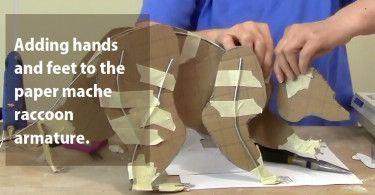 Paper Mache Raccoon Hands and Feet