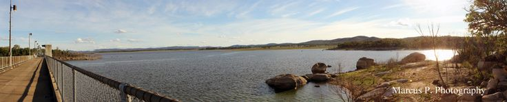 Panorama image of Lake Leslie, taken from the top of the dam, in Queensland, Australia.