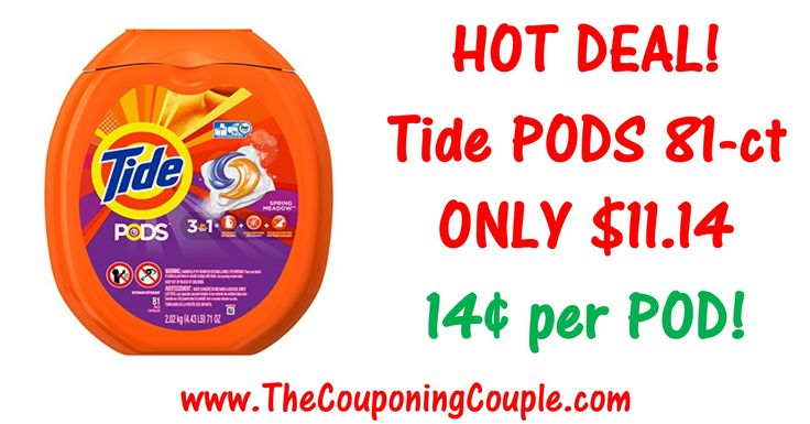 ***HOT TIDE DEAL ~ Tide Pods 81 count for only $13.97 SHIPPED*** HOT PRICE!!*** (Compare to $19.97 at Target and Walmart!) Click the Picture below to get all of the details ► http://www.thecouponingcouple.com/tide-pods-deal/  Help us out and use the SHARE button below the Picture to SHARE this post with your Family and Friends!  Visit us at http://www.thecouponingcouple.com for more great posts!