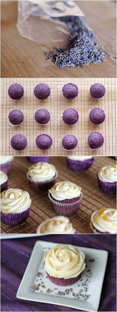 Lavender Cupcakes with Honey Frosting – Crystal Berg