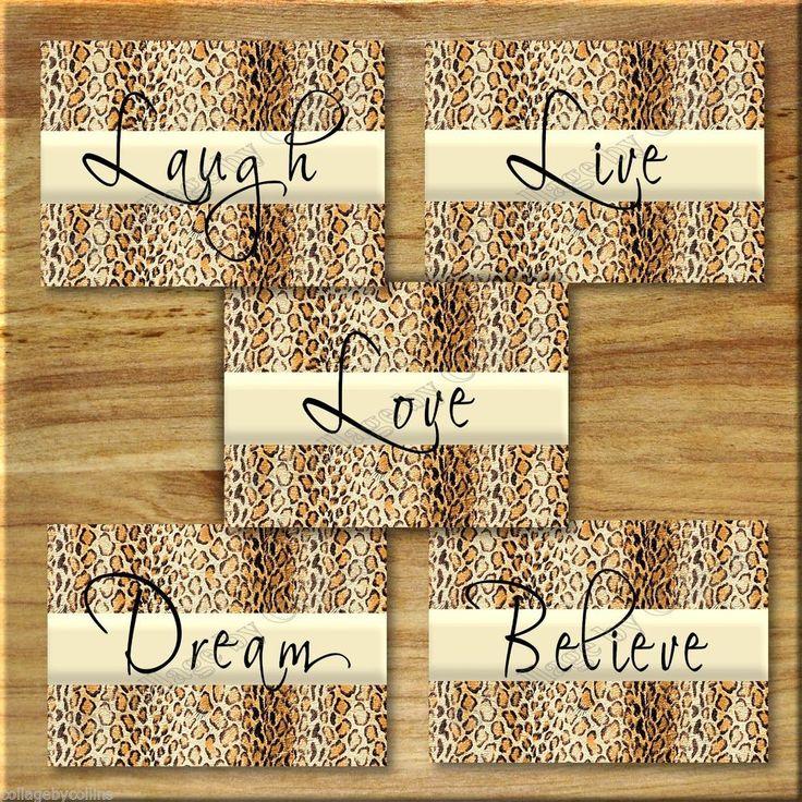 Leopard, Cheetah Print Wall Art Girl Teen Room Decor Inspirational LAUGH LOVE LIVE Dream, Believe, Motivational, Quotes, Photo Prints, #JoCollinscollagebycollins #WordArt