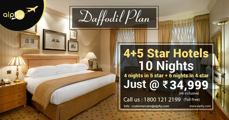 Enjoy 6 Nights in 4 Star and 4 Nights in 5-Star s with our Daffodil Plan in nominal prices. Alpfly offers the best price hotels now!