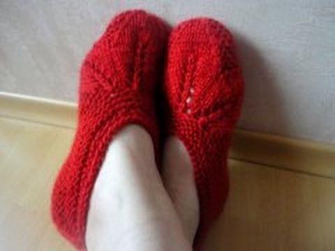 Cледки с листиками часть 1 (knitting slippers with leaves Part 1) - YouTube