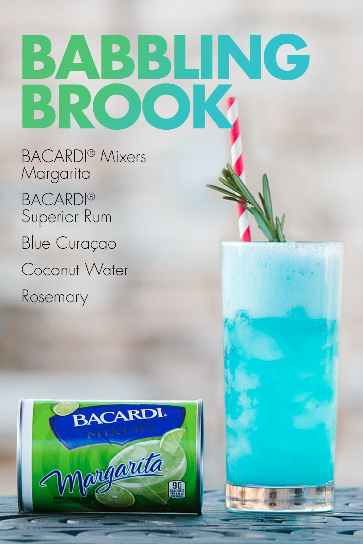 Get carried away by the captivating taste of turquoise! Blend BACARDI® Mixers Margarita, blue curaçao, coconut water, and your favorite rum for a beautiful blue cocktail that tastes even better than it looks!