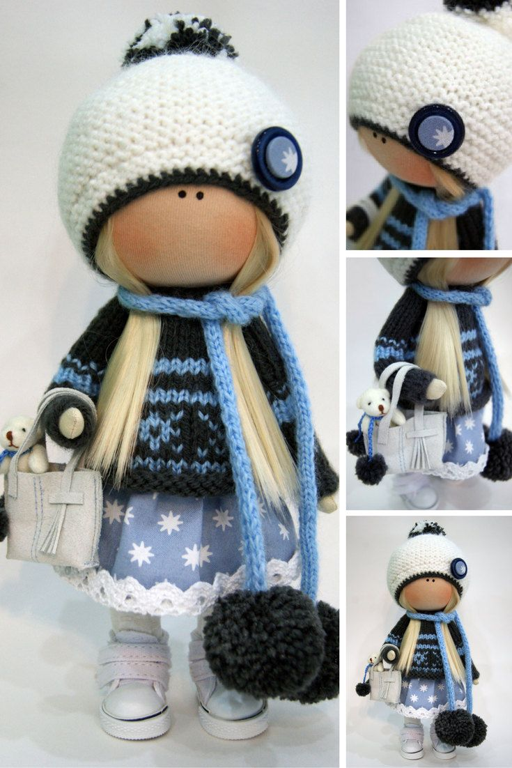 Cloth doll Winter doll Handmade doll Blue doll Tilda doll Interior doll Textile doll Nursery doll Fabric doll Decor doll Rag doll by Ksenia