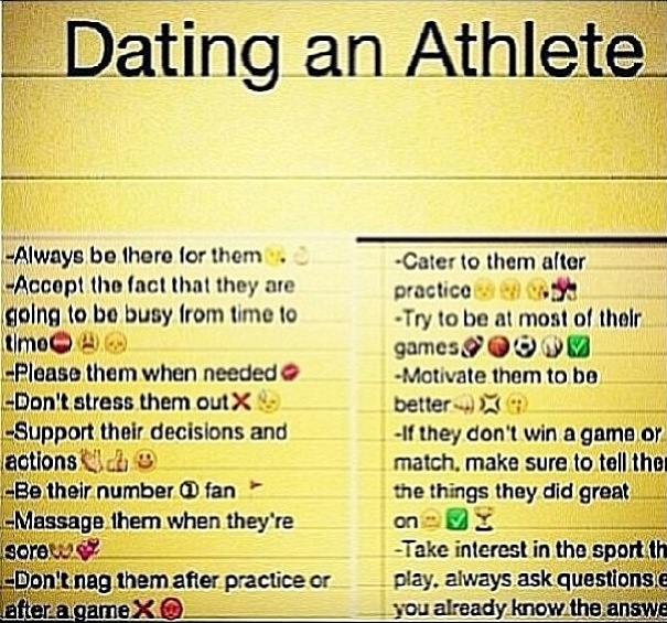 Dating an athlete tips