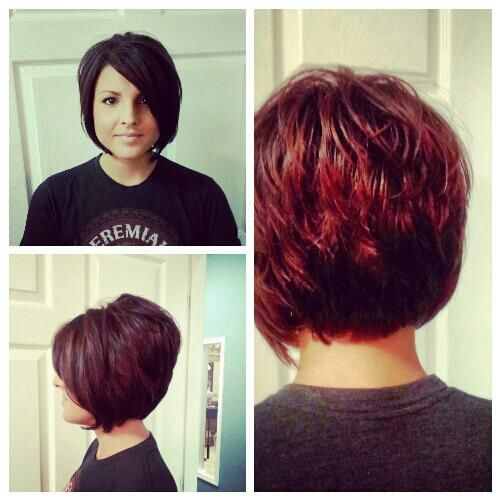 Short stacked bob a line