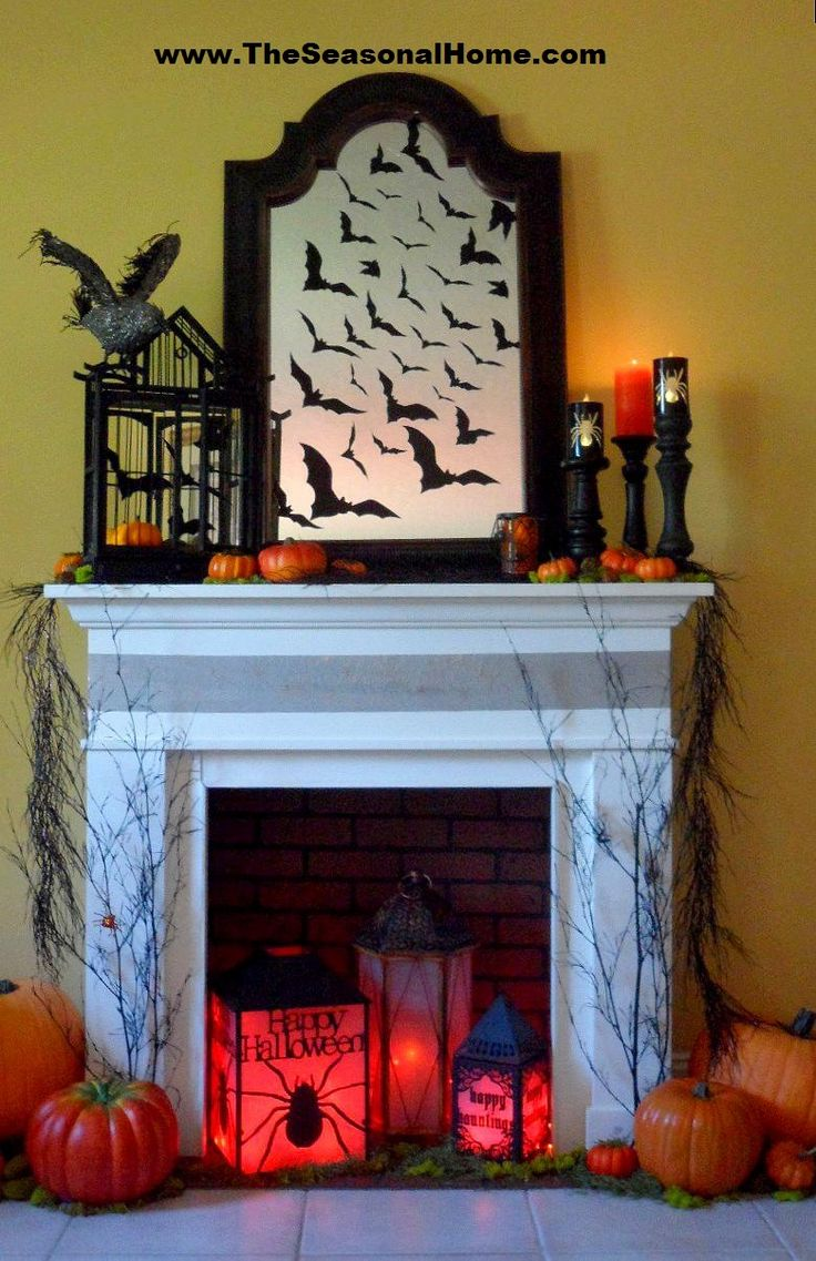 326 Best Halloween Mantels Fireplaces Images On Pinterest