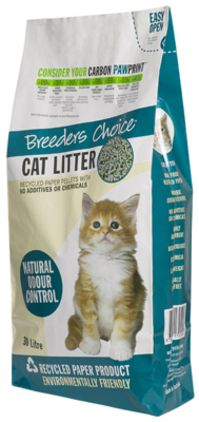 eders Choice Cat Litter is a highly absorbent, economical and lightweight cat litter, which is superior to clay and other alternate cat litters. It is composed of 99% recycled paper, which provides superior natural odour control, and contains no additives or chemicals. It is 100% biodegradable, and is safe enough to use as mulch on your garden after use. It is virtually dust free; reduces tracking and does not mark floors. Consider your carbon pawprint, and choose Breeders Choice $20.99