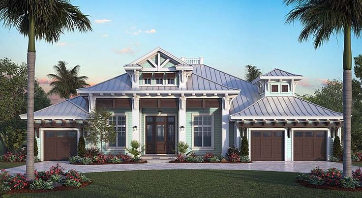 House Plan 75987 | Coastal Florida Plan with 4027 Sq. Ft., 4 Bedrooms, 5 Bathrooms, 3 Car Garage