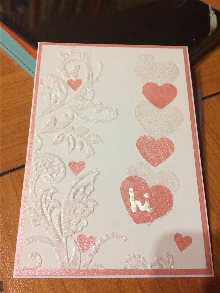 Hi Card - embossed & hearts