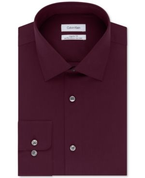Calvin Klein Steel Men's Classic-Fit Non-Iron Performance Solid Dress Shirt - Red 17.5 34/35