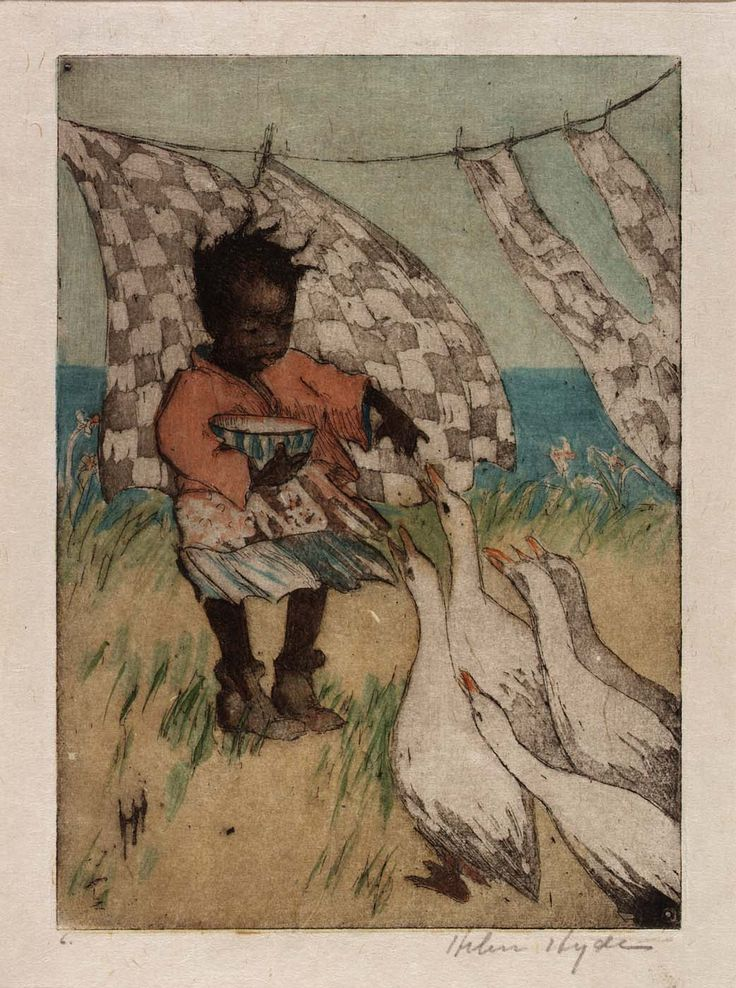'Feeding the Geese' ( 1918) by Helen Hyde. - Helen Hyde (April 6, 1868 - May 13, 1919) was an American etcher and engraver. She is best known for her color etching process and woodblock prints reflecting Japanese women and children characterizations. for more info http://americanart.si.edu/collections/search/artwork/?id=32803
