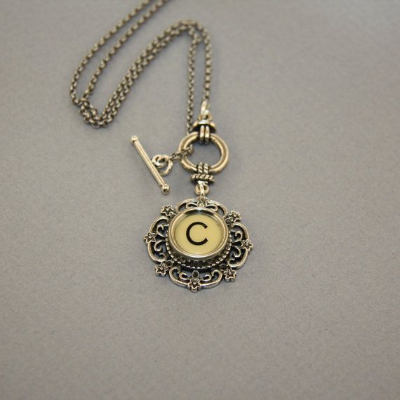 Typewriter Key Necklace  Vintage White Letter by lauralynns, $25.50