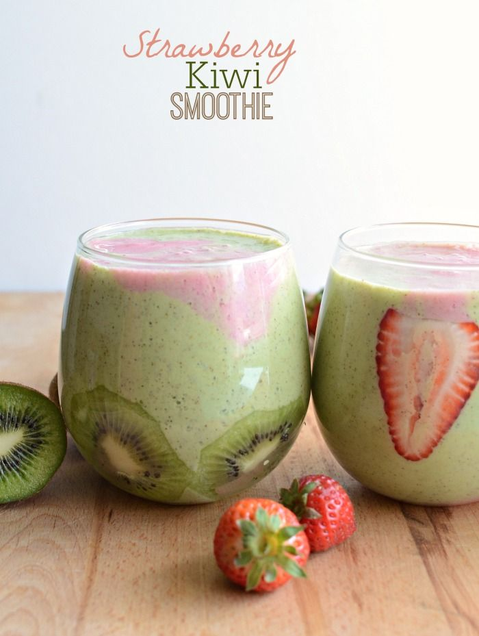 Healthy Strawberry Kiwi Smoothie ~ healthy and refreshing way to start your day or for a quick afternoon snack