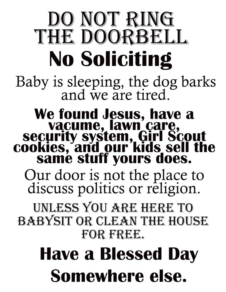 "Afloat in the deep blue: Printable ""No Soliciting"" sign."