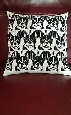 Handmade knitted cushion with French bulldog image