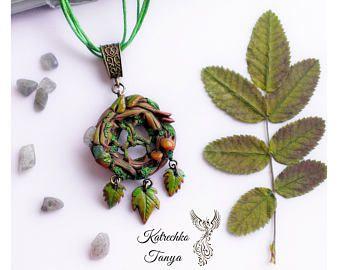 Dreamcatcher polymer clay pendant - Forest jewelry -  Fantasy pendant - Elven pendant - Stones pendant - Labradorite necklace