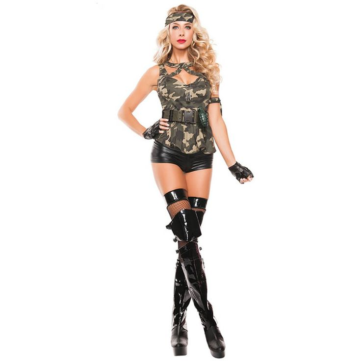 ==> [Free Shipping] Buy Best Six-piece Special Forces Hottie Sleeveless Peplum Top with Belt Black Wet Look Short Halloween Sexy Army Girl Costume L15368 Online with LOWEST Price | 32695365162