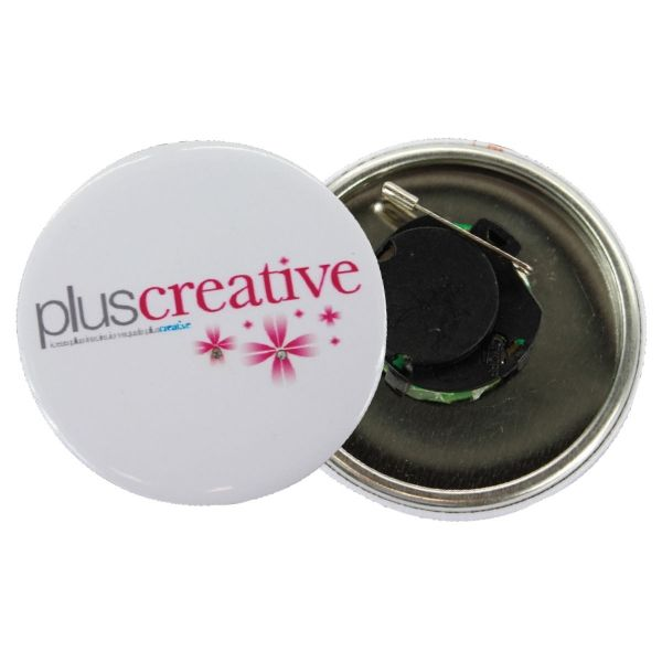 Button Badges FLASHING BUTTON BADGE WITH FULL COLOR Branding; Digital print  Material: Metal and Plastic     Bulk discount applies