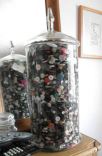 Button Jar @Roxanne Harpe..you should do do this with yours!!!! in a tall container..I like it!!!
