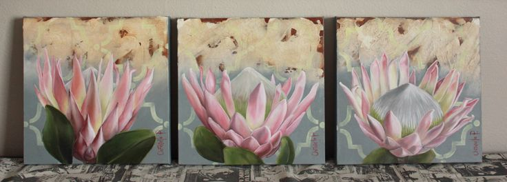 King proteas, 30x30cm, oil on canvas, Sold, going rate R500 each