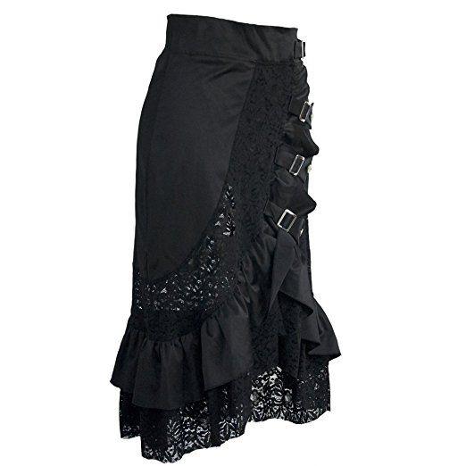 Coswe Damen Kleidung Schwarz Jahrgang Steampunk gotisch Baumwolle Röcke Rock Spitze Kleid (M)
