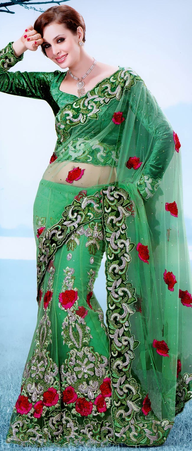 Light #Green Net #Lehenga Style #Saree With Blouse @ $220.80 | Shop @ http://www.utsavfashion.com/store/sarees-large.aspx?icode=ssx3635a