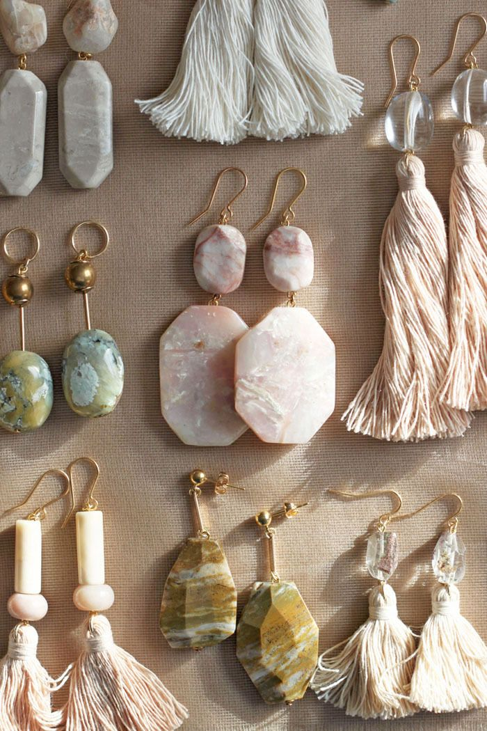 Semi-precious earrings with pink opal, marble and quartz