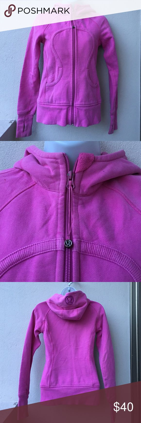 Lululemon Scuba Hoodie Pink size 4 Preowned Authentic Lululemon Scuba Hoodie Pink size 4. Signs of wear. Has thumbholes. Please look at pictures for better reference. Happy shopping!! lululemon athletica Tops Sweatshirts & Hoodies