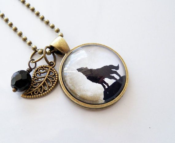 Wolf Moon Necklace Wolf Howling At The Moon by OxfordBright