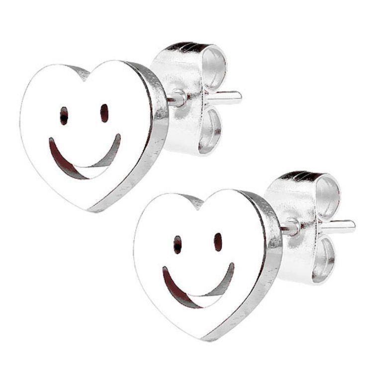 Ohrstecker Ohrringe Herz mit Smiley silbern