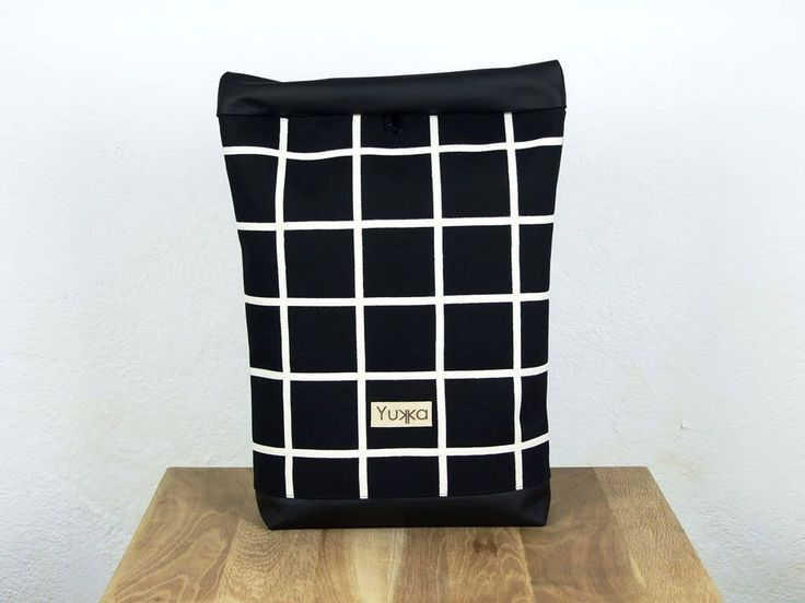 Black canvas minimal grid patterned backpack with black letaher by robobambi on Etsy